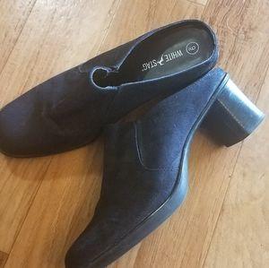 Black Suede Mules/Clogs